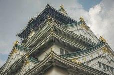 The many roofs of Osaka Castle.