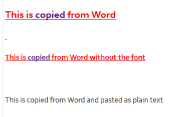 Paste from word - diff ways
