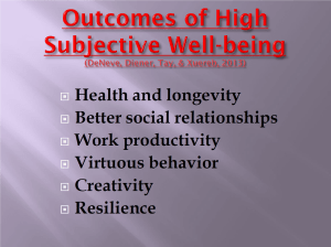 Outcomes of high subjective wellbeing