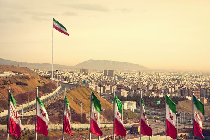 Flags at sunset Iran