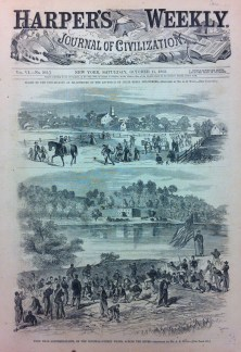 """""""Ford near Shepherdstown, on the Potomac - picket firing across the river. - Sketched by Mr. A.B. Ward."""""""