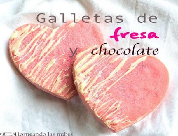 Galletas de fresa rellenas de chocolate