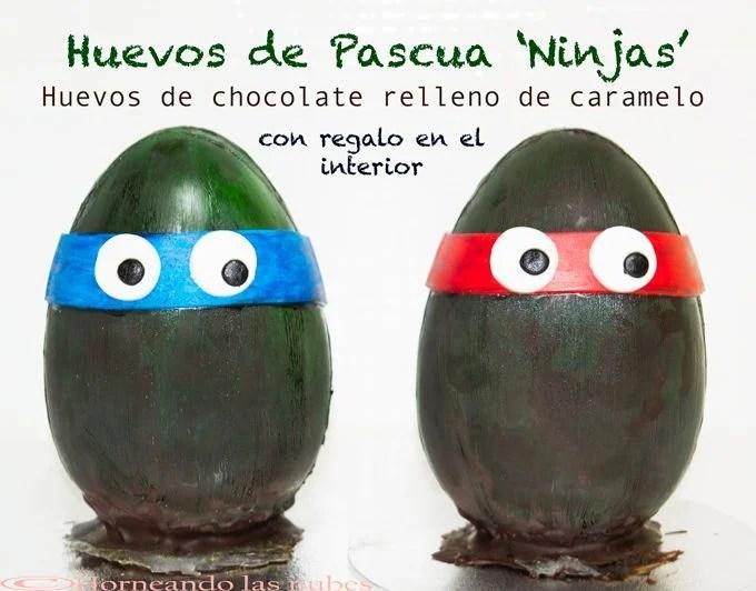Huevos de pascua ninjas. De chocolate relleno de caramelo, con regalo en el interior.