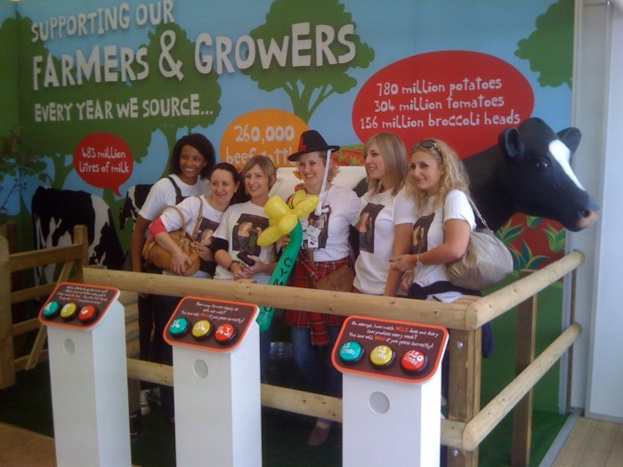Welsh Hen Party and Model Cow at Royal Highland Show Stand