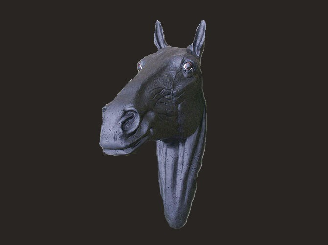 Black Horse Head Fibreglass Model
