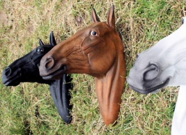 Life Size Chestnut Horse Head Model