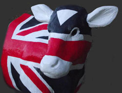 Union Jack Calf Cabinet Bookends