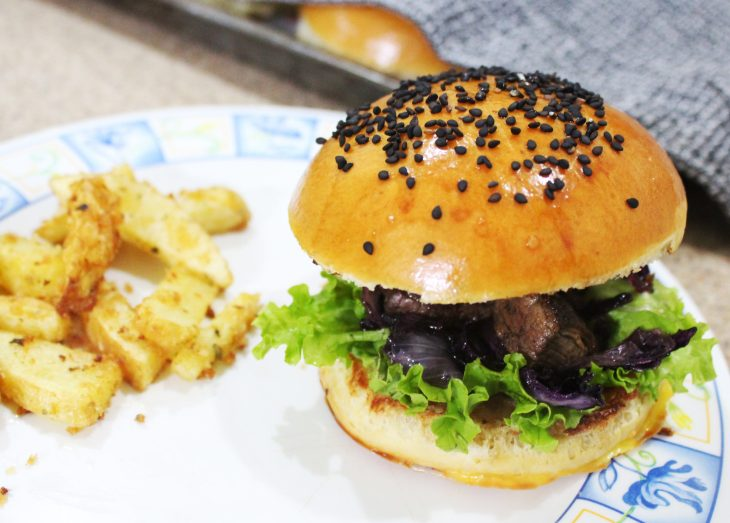 Beef burger with brioche buns