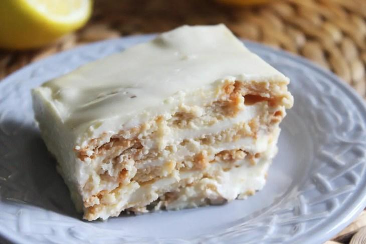 Receta tarta de limón con galletas