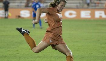 Julie Dyche shoots for Texas Soccer (Photo: courtesy TexasSports.com).