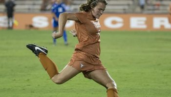 Julie Dyche shoots for Texas Soccer (Photo: courtesy TexasSports.com).