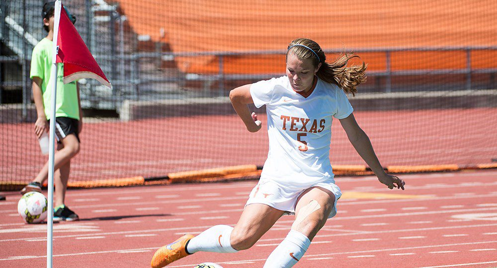 Senior midfielder Julia Dyche led the Texas soccer team's offense with four shots, but the Longhorns' 10 shots failed to produce a goal en route to a 1-0 home loss to No. 19 Cal (photo courtesy of texassports.com).