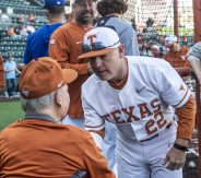 Coach Pierce greets former Coach Cliff Gustafson-