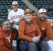 Coach enjoyed posing with Coach Pierce and Brooks Kieschnick, Texas Alum