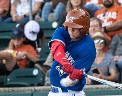 Texas Alum Kacey Clemens-now with the Toronto Blue Jays-at the plate with a hit!