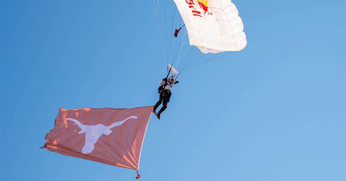 Texas Longhorns Flag Skydiving