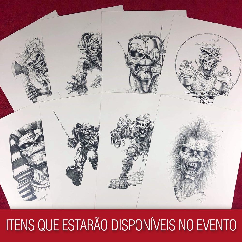 Itens de Derek Riggs presentes na Horror Expo 2019