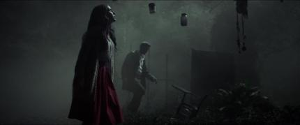 """[L-R] Jessica Lowndes as Julia Talben and Joe Anderson as Declan Grady in the horror film """"ABATTOIR"""" a Momentum Pictures release. Photo courtesy of Momentum Pictures."""