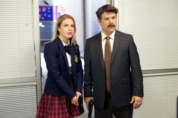"""[L-R] Ali Astin as Ethel and Sean Astin as Headmaster Nash in the thriller """"BAD KIDS OF CRESTVIEW ACADEMY"""" a Momentum Pictures release. Photo courtesy of Momentum Pictures."""