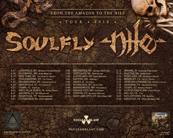 SOULFLY & NILE Announce 2018 US Co-Headlining Tour!