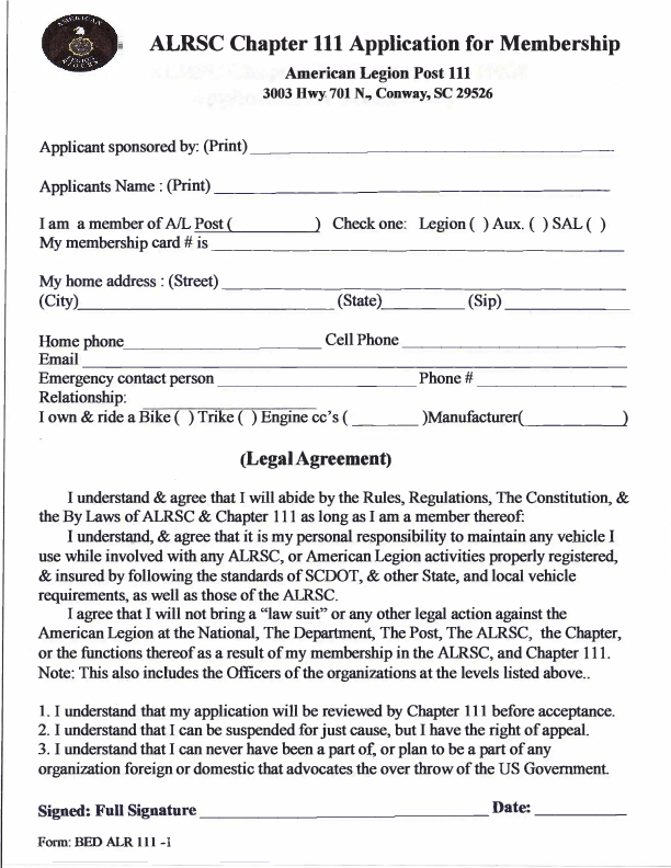 ALRSC-111 Membership Application