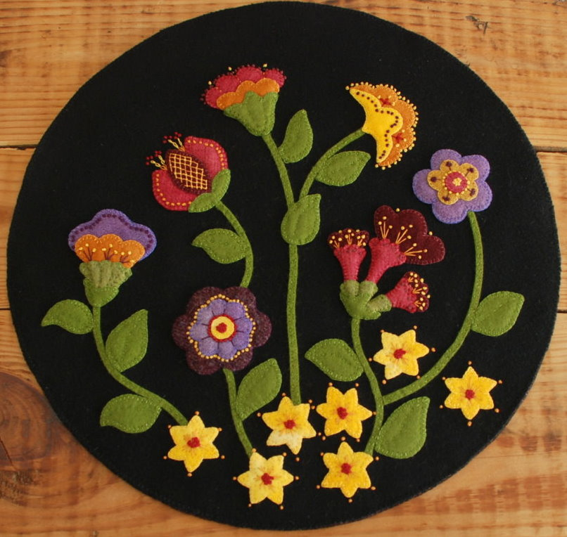 "Wool Applique Pattern Kit ""Jacobean Flowers"" Table Runner Topper Magnificent Applique Patterns Flowers"