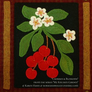 Wool applique PATTERN /&or KIT Tomatoes on the Vine from the series My Kitchen Garden hand dyed felted wool quilt block wall hanging