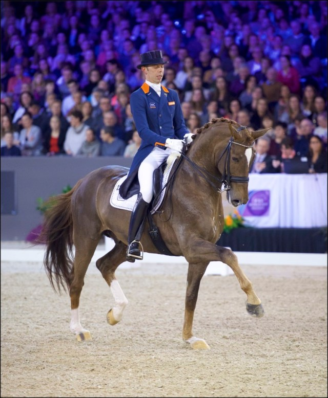 Hans Peter Minderhoud (NED) and GLOCK's Flirt, winners of the FEI Reem Acra World Cup Freestyle to Music at Indoor Brabant, 's Hertogenbosch, the Netherlands