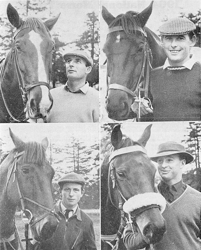 The Tokyo Olympics show jumping team (clockwise from top left) Bruce Hansen with Tide, Graeme Hansen with Saba Sam, Charles Matthews with Syndicate and Adrian White with Eldorado (NZHP Library)