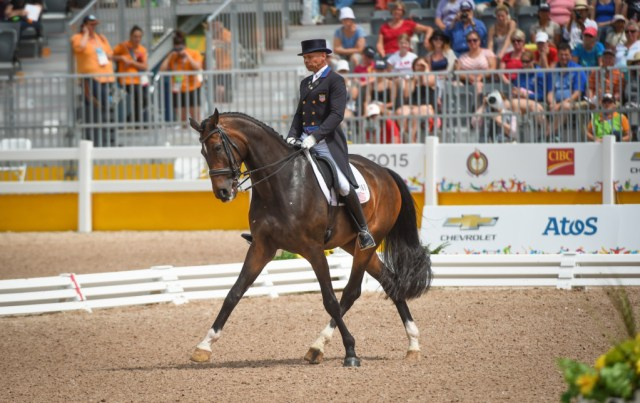 Steffen Peters (USA) and Legolas 92 at the OLG Caledon Pan Am Equestrian Park during the Toronto 2015 Pan American Games in Caledon, Ontario, Canada. (Image: StockImageServices.com)