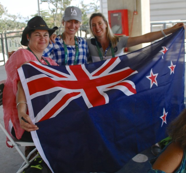 Anna Bone, Catriona Williams and Charlotte Inglis with their New Zealand flag at the Rio Eventing Dressage