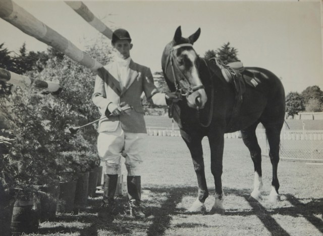 David with Telebrae, New Zealand's show jumper superstar of the 1960s, who was the first NZ horse to compete at an Olympics