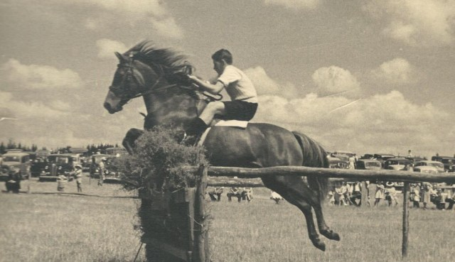 A 12-year-old David at the 1948 Waerenga Sports, on Lady Sue
