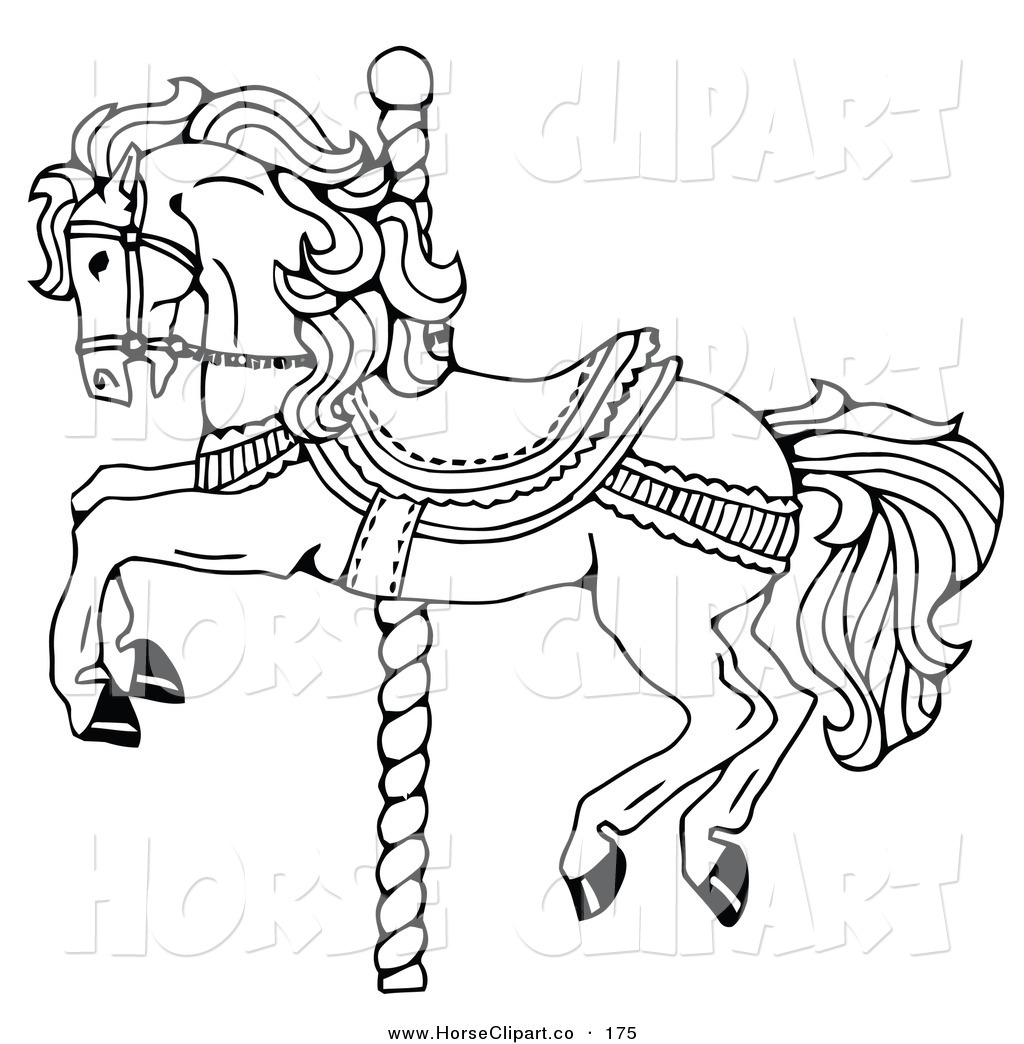 Clip Art Of A Carousel Horse On A Spiraling Pole On A