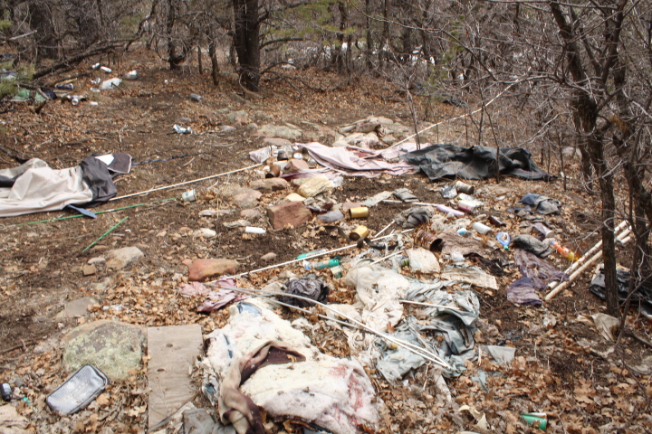 This was a different pile of trash left behind at a homeless camp near the trail at the bottom of Horse Gulch on the north  side.