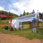 A high-speed six-pack chairlift (lift 1) at Durango Mountain Resort sits idle last summer.