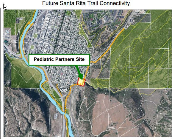 Here's a look at how Santa Rita Trail would spur off of Animas River Trail. Image Courtesy of Kevin Hall, Durango's Director of Natural Lands, Trails and Sustainability.