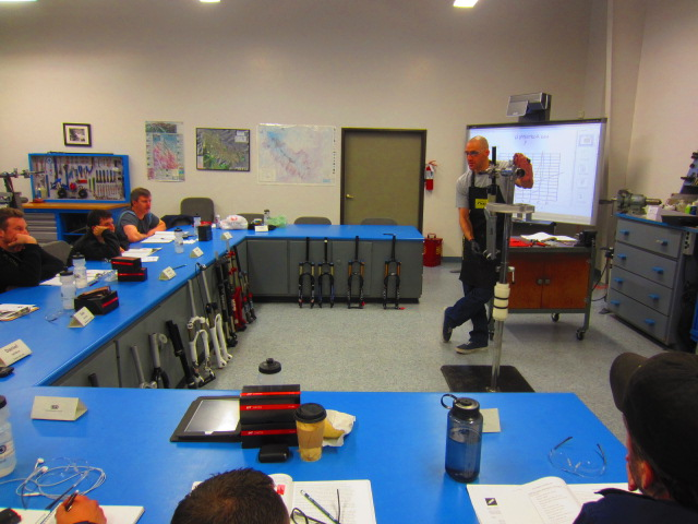Rich Arvizo, a United Bicycle Institute instructor, teaches an advanced seminar on suspension technician certification.