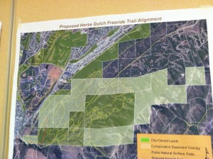 This was a map of the alignment that Mary Monroe of Trails 2000 presented to the joint Natural Lands/Parks and Recreation Board meeting last Monday.