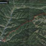 A Google Earth map of Big Lick Trail. Big Lick is delineated in red, and it meets up with Hermosa Creek (blue) at the bottom.