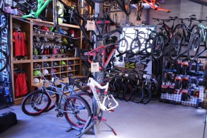 Most of the retail inventory is kept inside, with the rental fleet on display during the day outside.