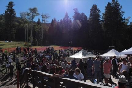 Lots of people enjoying good beer, food and friends at Ullr Fest at Pajarito Mountain.