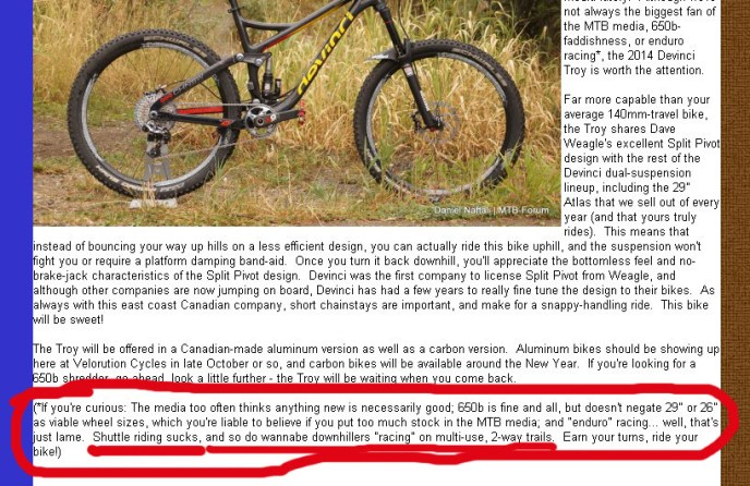 An excerpt from the home page of Velorution Cycles' home page, with red-circled text added by this blogger to highlight where Ernst rips on freeride mountain bike culture.