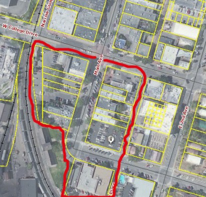 Properties owned by Jim Jackson are outlined in red. The train depot and the streets are not owned by Jim Jackson. Jackson won't rent to marijuana retailers, according to Johnny Radding, partnership owner of Durango Organics.