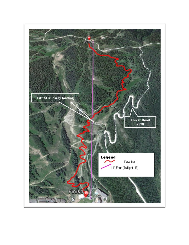 This is a map of the conceptualized Divinity Downhill trail at Durango Mountain Resort. Upon completion, Divinity Downhill is said to have berms and optional jumps. Work is supposed to begin on the trail this summer. Photo courtesy of Jed Botsford, the Recreation Staff Officer on the Columbine Ranger District.