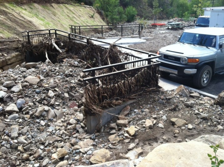This storm drain under a corner of the Horse Gulch trail head parking lot was completely overwhelmed by rocks, sticks and mud after a storm last Sunday morning.