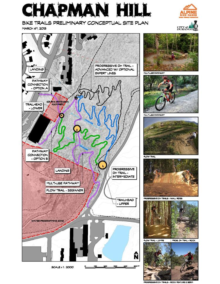 Alpine Bike Parks, a full-service design/build contractor, drafted this map for what a bike park might look like at Chapman Hill.