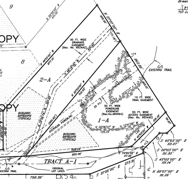 This screenshot of the plat for the Falcon Trail on Anne Klein's property shows the trail easements.