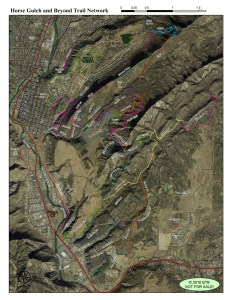 This map of the trails in and around Horse Gulch was illustrated by GIS Specialist Ben Bain.