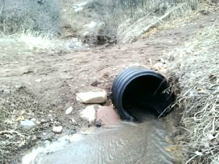 This culvert was installed in Big Canyon last fall to help keep the trail from washing out. Water was flowing through it with not silt, sediment or debris obstructing it in February, 2017.